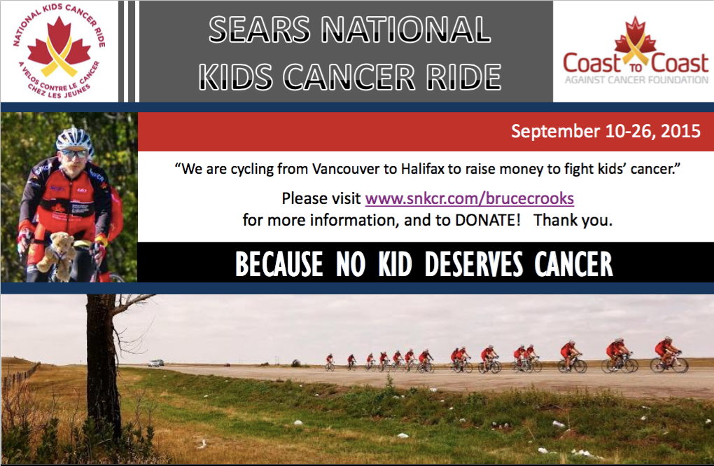 Please Join The Sears National Kids Cancer Ride  Riders And Team As They Finish Their  Day Ride Across Canada From Vancouver To Halifax